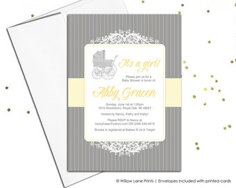 Gray and yellow baby shower invitations, gender neutral baby shower Invite, baby carriage, pinstripe, printable file or printed - WLP00763