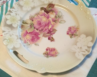 Vintage Victotrian Cookie Plate Pink and Yellow Roses Made in Bavaria #4024