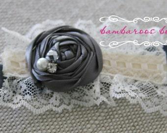 grey baby headband, Newborn photography prop, petite vintage rosette on lace, newborn headband, vintage headband, vintage headband