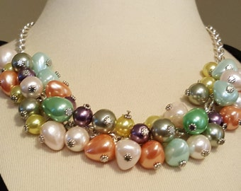 Pastel Perfection - Multi Colored Plastic Bead Necklace