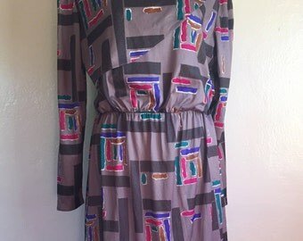 Vintage 1980s geometric grey dress