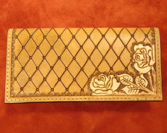 Quilted Western Rose Leather Checkbook Cover