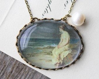 Miranda (The Tempest) Necklace. John William Waterhouse. (magnifying pendant art book illustration jewelry antique romantic shakespeare)