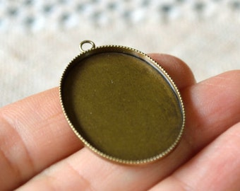 6pcs 21x16mm Cabochon Cameo Setting Frame  Oval Antiqued Brass for 20x15mm