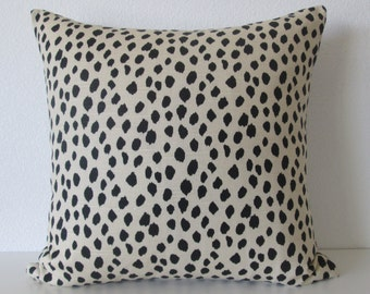 Dodie beige black spot animal print dot print decorative pillow cover - ballard design