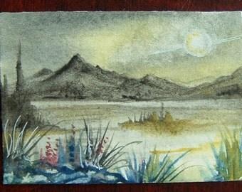 art painting original watercolour space landscape ref 327