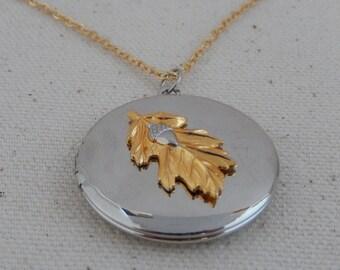 Acorn Locket, Leaf Locket, Silver Locket, Working Locket, Gift for Her