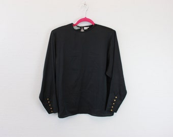 Vintage 80s Slouchy Black Blouse by intuitions