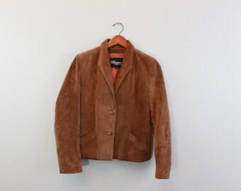 Vintage Brown Leather Suede Crop Jacket By Wilson Leather