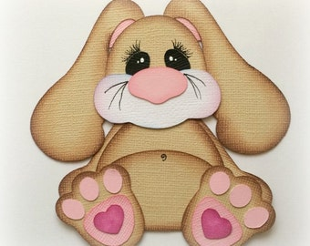 premade paper piecing bunny stuffies scrapbooking embellishment by My tear bears by Kira