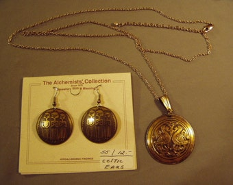 Vintage 1980s Brass Embossed Celtic Design Pierced Earrings & Pendant Necklace 8603