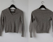 Vintage CASHMERE Heathered Gray Sweater Fitted Tiny Fit Long Sleeve 90s Gray Wool Jumper XS
