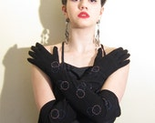 Vintage 1940s Black Suede Gloves / 40s Evening Gloves with Multicolored Sequins / Extra Long