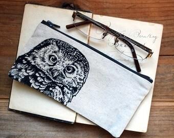 Owl Pencil Case, Artist's Pencil Case,  Woodland  Pouch, Zipper Pouch