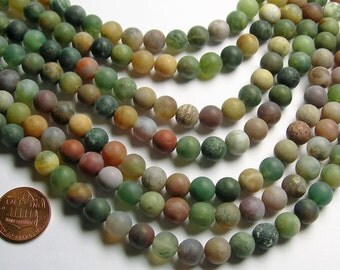 Indian agate 8mm - Matte -  full strand - 49 beads per strand - AA quality - RFG996