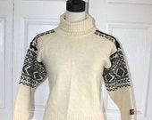 50% OFF SALE Vintage NORWEGIAN Wool Sweater . Scandinavian Nordic Sweater . Devold of Norway . Turtleneck Pullover Sweater . Size Extra Smal