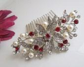 Bridal Swarovski Crystal Wedding Comb,Wedding Hair Accessories,Vintage Style Red Pearl Leaf Rhinestone Bridal Hair Comb,Clip,Pearl,Red,KATY