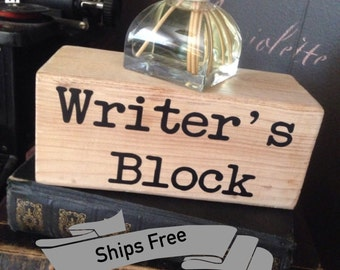 Writer's Block, Decortive Gift, Writer, Author, Bookworm, Books, Teacher, Free Shipping