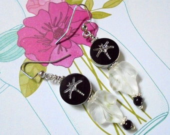 Black, White and Silver Dragonfly and Leaf Earrings (2682)