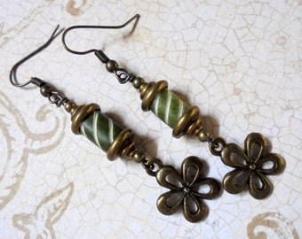 Olive Green, White and Brass Ethnic Flower Earrings (2769)