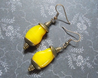 Lemon Yellow and Brass Boho Earrings (3100)