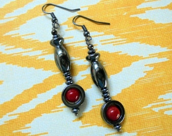 Black and Red Hematite Earrings (2550)