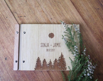 Wedding Guest Book. Wedding Album. Engraved Wood. Engagement Anniversary Gift. Bridal Shower | Forest Fir Tree
