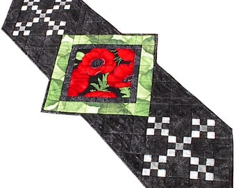 Red Poppy table runner, handmade floral quilted, 21.5 x 51.5