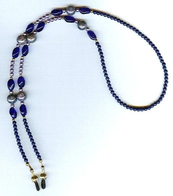 Blue Jean Design Swarovski Mottled Bead and Multi Czech Beaded Eyeglass Chain or ID Badge Lanyard