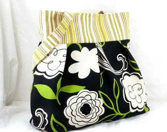 Slouch Bag, Large Purse, Black and White, Handmade Tote Bag, Green Floral Fabric, Diaper Bag, Overnight Carry All, Handmade in Canada