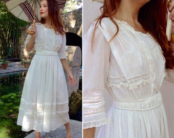 1900s French antique off white embroidered lace edwardian tea dress Sz XS