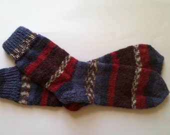 Hand Knit Soft And Warm Men's Alpaca Striped Socks, Size 10 - 10.5  (10.75 inches length) - Warm Striped Socks, Hand Made Socks, Knit Socks