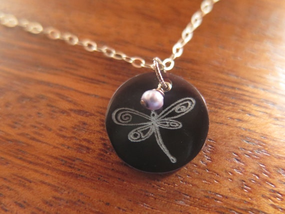 Dragonfly Etched Shell & Sterling Silver Necklace