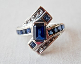 10K White Gold Ring White Gold Sapphire Ring Modernist Bypass Baguettes September Birthstone Vintage Jewelry Size 5