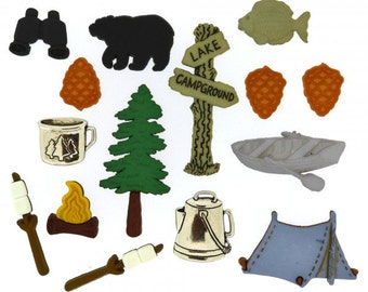 Jesse James Buttons Camping Outdoors Wilderness Button Set Embellishments