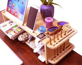 wood display monitor stand phone IPAD holders book case apple watch holders