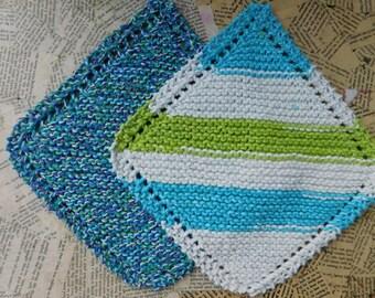 Cotton Knit Dishcloths   Set of Two, Blue, Green, Purple & White   Dishcloths   Vegan    Washcloths   Ecofriendly   Reusable   Natural
