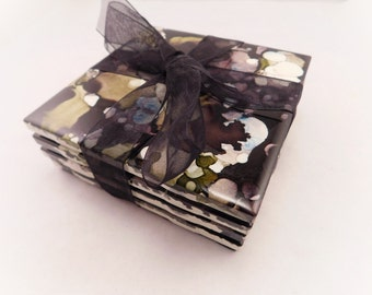 Tile Coasters   Set of 4, Black & Gray   Alcohol Ink Coasters   Alcohol Ink Tiles   Drink Coasters   Housewarming Gift   Home Decor
