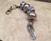 Flip flop handbag zipper charm floral feminine sparkly silver tone diamante finish JAZZ it up