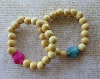 His/Hers Matching Wood And Howlite Turtle Stretch Beaded Bracelet