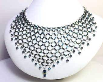 Sterling Silver and Annodized Metal Chain Maille Beaded Bib Necklace with Crystals