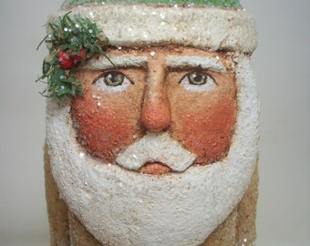 Santa Paper Mache Primitive Folk Art Tan