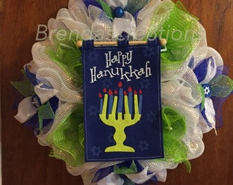 Happy Hanukkah Deco Mesh Wreath, Chanukkah Gift, Judaica Decoration, Menorah Welcome, Star of David Decor, Happy Hanukkah