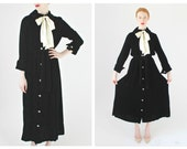 1950s Inky Black Velvet Dress/Duster- M/L White Satin Bow Burnout Vintage Gothic Rhinestone Button Belted Long Cardigan Fashions by Marilyn