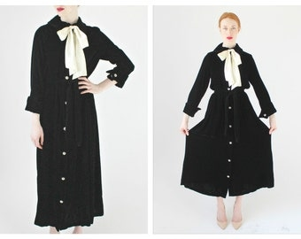 50s Gothic Black Velvet Dress/Duster- M/L White Inky Satin Bow Burnout Vintage Gothic Rhinestone Button Belted Long Cardigan Fashions by Mar