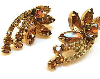 Topaz Earrings Crystal Clip On Earrings True Vintage Jewelry Ab Golden Brown