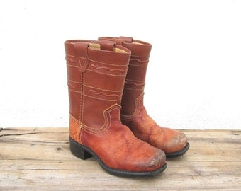 15% Off Out Of Town SALE SALE Vintage Children's Distressed Cognac Leather Campus Cowboy Boots Kid size 9.5
