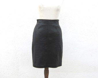 North Beach Leather High Waisted Black Leather Pencil Skirt Ladies 9/10 Modern 6
