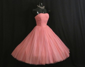 Vintage 1950's 50s Strapless Salmon Pink Ruched CHIFFON Organza Party Prom Wedding DRESS