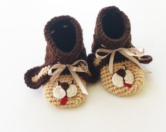 Baby Shoes, Baby Home Slippers, Puppy, Gender Neutral, Crochet Booties, Soft Sole Shoes, Baby Shower